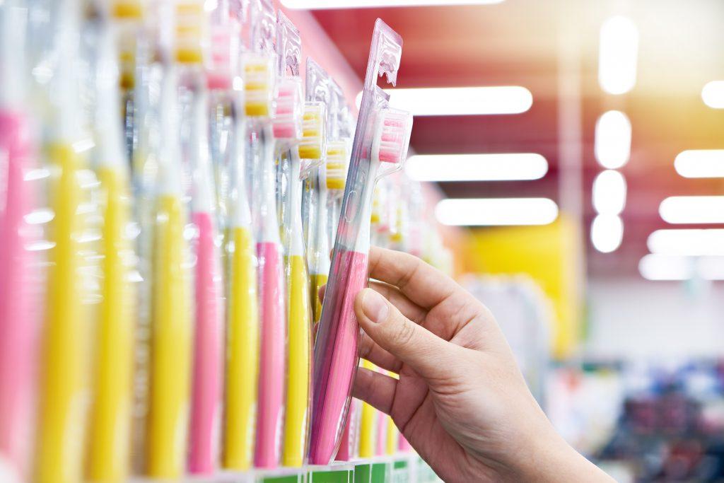 Plastic toothbrush shop display